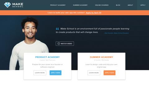 Screenshot of Home Page makeschool.com - The college replacement for founders and developers | Make School - captured April 26, 2016