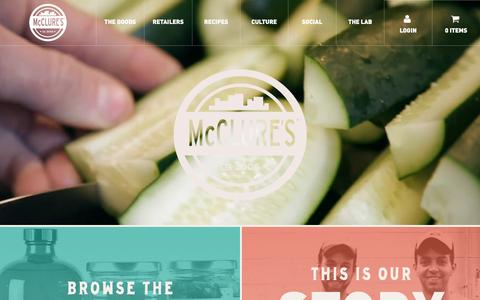 Screenshot of Home Page mcclures.com - McClure's Pickles - captured May 27, 2017