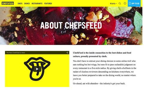 Screenshot of About Page chefsfeed.com - About Us   ChefsFeed - captured Dec. 2, 2015