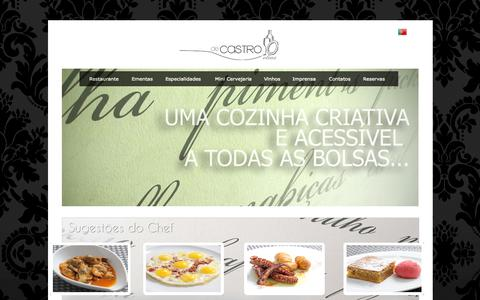 Screenshot of Home Page decastroelias.com - RESTAURANTE DE CASTRO ELIAS | PETISCOS | GASTRONOMIA | ALMOÇOS E JANTARES | RESTAURAÇÃO - captured Oct. 1, 2014