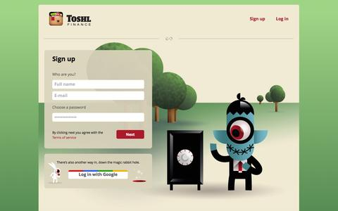 Screenshot of Signup Page toshl.com - Sign up | Toshl Finance - captured Sept. 24, 2014