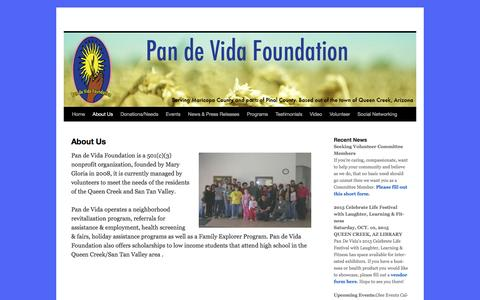 Screenshot of About Page pandevidaaz.org - About Us - - captured Oct. 20, 2016
