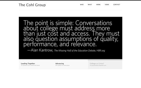 Screenshot of Home Page cohlgroup.org - Home - The Cohl Group - captured Oct. 18, 2018