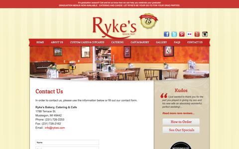 Screenshot of Contact Page rykes.com - Contact Us - Ryke's Bakery, Catering, & Cafe - Muskegon MI Ryke's Bakery, Catering, & Cafe - captured Oct. 18, 2018