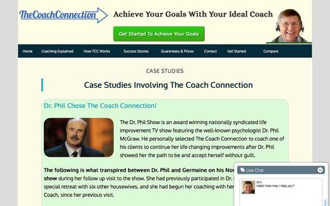 Screenshot of Case Studies Page findyourcoach.com - Life Coaching Case Studies For Coach Connection Clients - captured Feb. 15, 2016