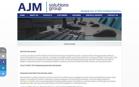 Screenshot of Testimonials Page ajmsolutionsgroup.com - AJM Solutions Group Inc.  - Hospitality Solutions - captured Feb. 4, 2016