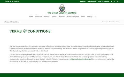 Screenshot of Terms Page grandlodgescotland.com - Terms & Conditions - The Grand Lodge of Scotland - captured Oct. 25, 2018