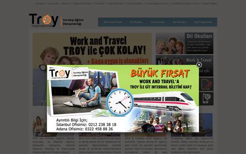Screenshot of Home Page troyint.com - Work and Travel - Troy international Yurtdışı Eğitim Danışmalığı - captured Oct. 10, 2015