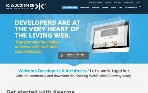 Screenshot of Developers Page kaazing.com - Kaazing Developer Network - captured Sept. 16, 2014