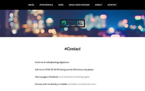 Screenshot of Contact Page hashtag-digital.com - #Contact – #digital - captured July 20, 2017