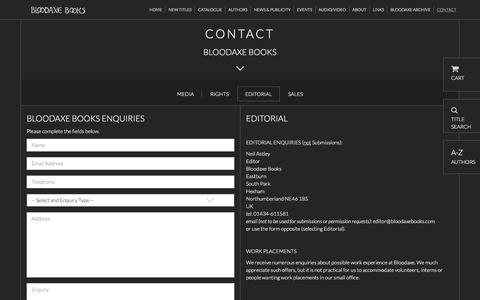 Screenshot of Contact Page bloodaxebooks.com - Editorial | Bloodaxe Books - captured June 4, 2016