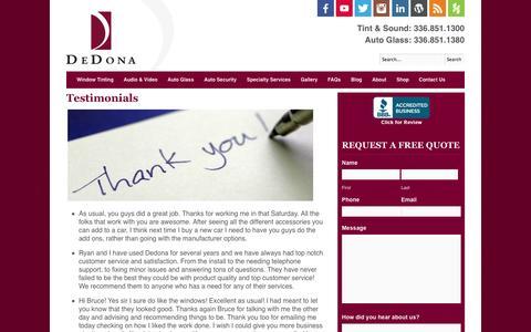 Screenshot of Testimonials Page dedona.com - Auto Glass Reviews   Car Audio Reviews   Window Tinting Reviews - captured Oct. 5, 2014