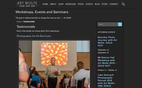 Screenshot of Testimonials Page artwolfe.com - Testimonials - Art Wolfe Events - captured Sept. 26, 2018