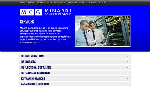 Screenshot of Services Page minardigroup.com - Services - Minardi Group Consulting - captured Feb. 27, 2016
