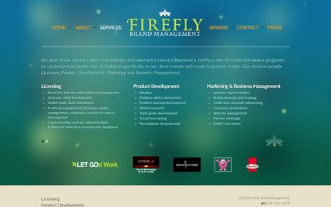 Screenshot of Services Page fireflybrandmanagement.com - Services | Firefly Brand Management - captured Sept. 30, 2014