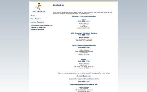 Screenshot of Contact Page goalfinancial.net - Goal Financial, LLC - Contact Us - captured Sept. 30, 2014