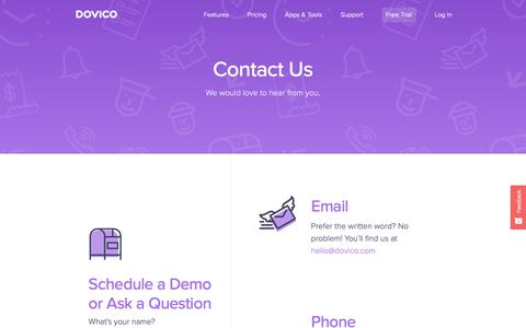 Screenshot of Contact Page dovico.com - DOVICO - Timesheets Software - Contact Us Today - Contact - captured Sept. 30, 2018