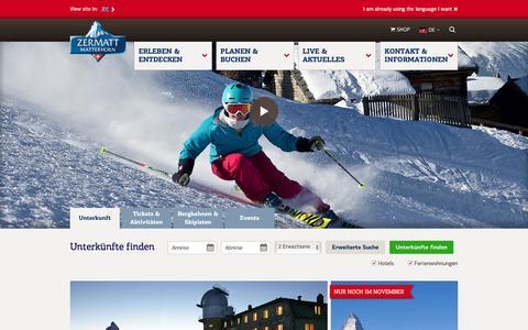 Screenshot of Home Page zermatt.ch - Zermatt-Matterhorn: Ferien in den Bergen & Alpen - captured Nov. 3, 2016