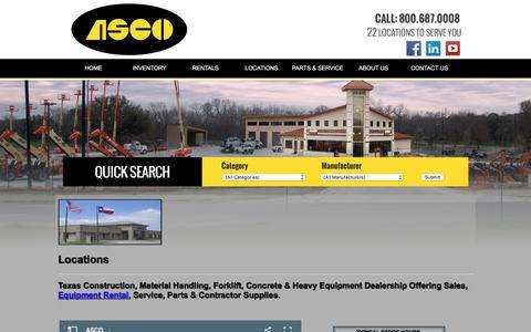 Screenshot of Locations Page ascoeq.com - Texas New Mexico Construction Equipment | Austin San Antonio Lubbock Abilene Odessa Midland Forklift Rental Concrete Contractor Supplies - captured Nov. 19, 2016