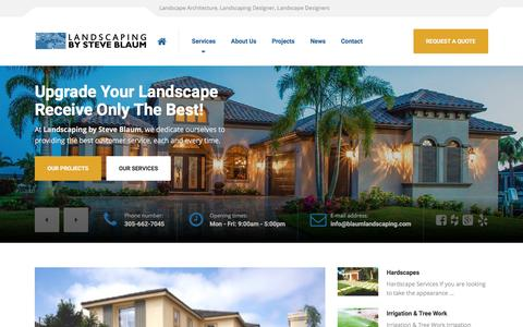 Screenshot of Home Page blaumlandscaping.com - Landscaping Package | Blaum Landscaping Coral Gables - captured Oct. 22, 2016