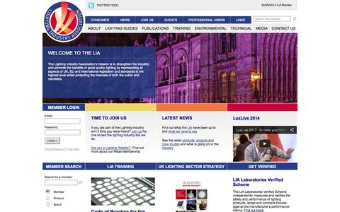 Screenshot of Home Page thelia.org.uk - lighting industry association - captured Oct. 2, 2014