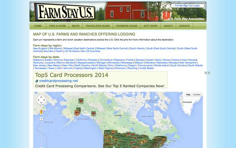 Screenshot of Maps & Directions Page farmstayus.com - Map of U.S. Farms and Ranches Offering Lodging            | Farm Stay U.S. - captured Sept. 19, 2014