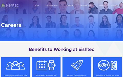 Screenshot of Jobs Page eishtec.com - Eishtec | Work Benefits | Career Opportunities - captured July 17, 2018