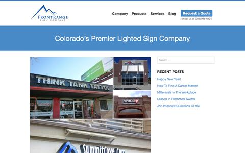 Screenshot of Home Page frontrangesigns.com - Front Range Sign Company   Premier Lighted Sign Company - captured Jan. 24, 2015