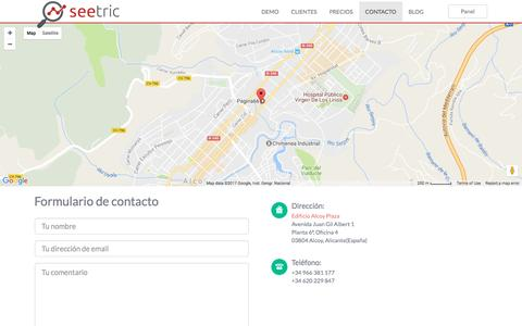 Screenshot of Contact Page seetric.com - Seetric - Buscador avanzado para tiendas online - captured May 5, 2017
