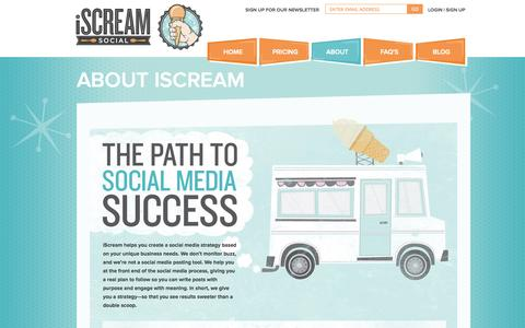 Screenshot of About Page iscreamsocialapp.com - About Our Social Media Optimization Company | iScream Social - captured Oct. 6, 2014
