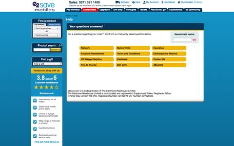 Screenshot of Support Page e2save.com - Helpdesk - Mobile Phones - Free Gifts, SIMs and Cheap Smartphone Deals - captured Nov. 1, 2014