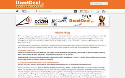 Screenshot of Privacy Page streetdeal.ph - Deals, Discounts the Philippines | StreetDeal.ph - captured Oct. 29, 2014