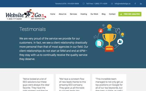 Screenshot of Testimonials Page website2go.ca - Section: Testimonials - Website Design Brampton | Mississauga - captured April 2, 2016