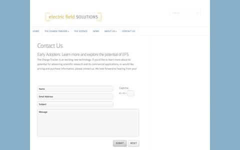 Screenshot of Contact Page electricfieldsolutions.com - Contact Us | Electric Field Solutions - captured Sept. 29, 2014