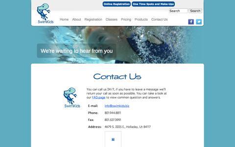 Screenshot of Contact Page swimkids.biz - Contact | SwimKids - captured Oct. 6, 2014