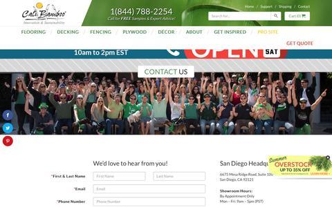 Screenshot of Contact Page calibamboo.com - Contact Us - CaliBamboo GreenShoots - captured Aug. 6, 2016