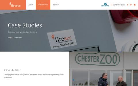 Screenshot of Case Studies Page firesec.uk.com - Case Studies | Firesec North West Limited - captured Oct. 13, 2017