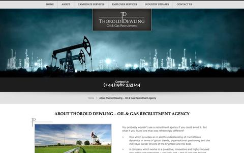 Screenshot of About Page thorolddewling.com - Oil and gas recruitment agency | Thorold Dewling | Thorold Dewling.com - captured Nov. 17, 2017