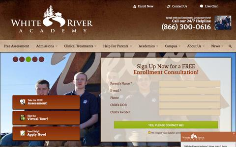 Screenshot of Home Page whiteriveracademy.com - Troubled Boys Schools | Help | Facilities | Reform Schools | Programs for Troubled Youth - White River Academy - captured Sept. 3, 2015
