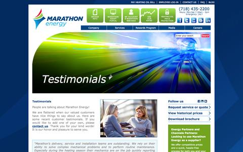 Screenshot of Testimonials Page mecny.com - Testimonials | Marathon Energy - captured Oct. 27, 2014