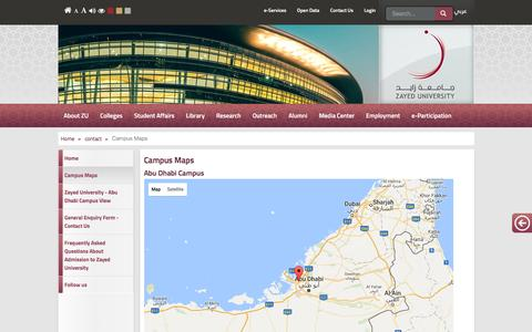 Screenshot of Maps & Directions Page zu.ac.ae - Campus Maps - captured Nov. 28, 2016
