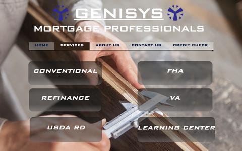 Screenshot of Services Page genisysmortgage.com - Genisys Mortgage Professionals - captured July 25, 2017