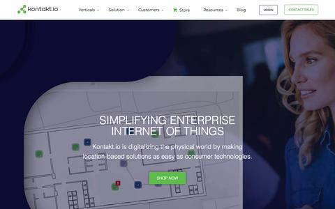Screenshot of Home Page kontakt.io - Digitalizing the Physical World - Kontakt.io - captured June 5, 2018