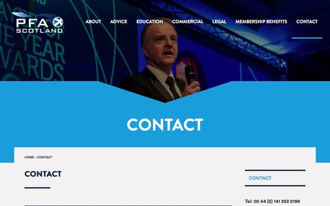 Screenshot of Contact Page pfascotland.co.uk - Contact | PFA Scotland - captured Feb. 28, 2018