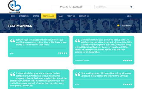 Screenshot of Testimonials Page cashbackindia.in - Testimonials - captured Oct. 1, 2018