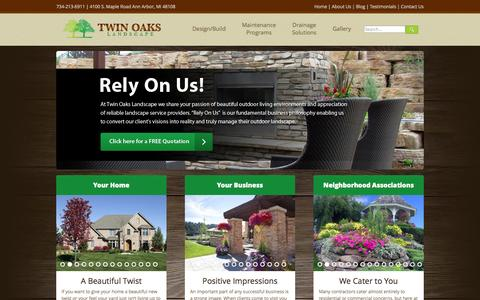 Screenshot of Home Page twinoakslandscape.biz - Landscaping, Mowing and Lawn Care Services in Ann Arbor MI - captured Oct. 1, 2014