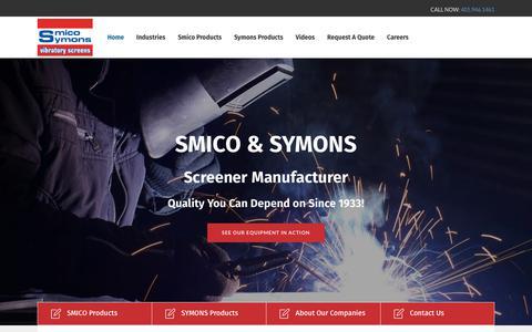 Screenshot of Home Page smico.com - Home - SMICO Vibratory Screens - captured March 17, 2018