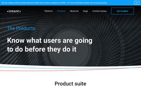 Screenshot of Products Page intent.com - The Products - intent - captured Aug. 20, 2019