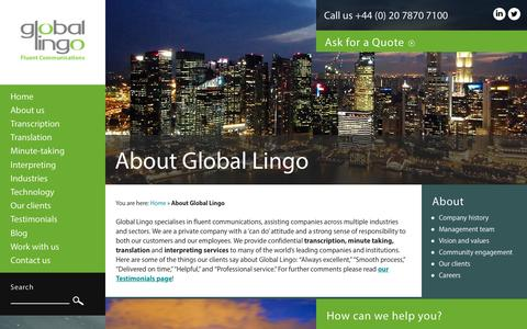 Screenshot of About Page global-lingo.com - Learn about Global Lingo | Global Lingo - captured July 8, 2016