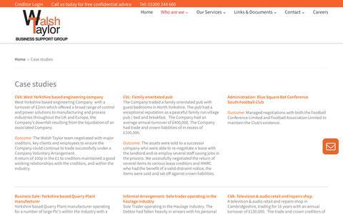Screenshot of Case Studies Page walshtaylor.co.uk - Walsh Taylor Case studies   Liquidations, Agreements   Walsh Taylor - captured Sept. 20, 2018